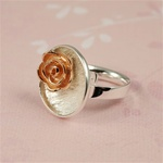 Two Tone Rose Gold Flower Ring