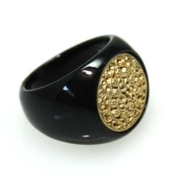 Black & Gold Floral Pattern Ring