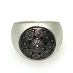 Silver Black Circle Pattern Ring