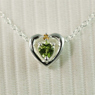 Silver Heart Peridot Necklace
