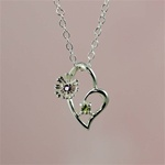 Silver Flower Heart Peridot Necklace