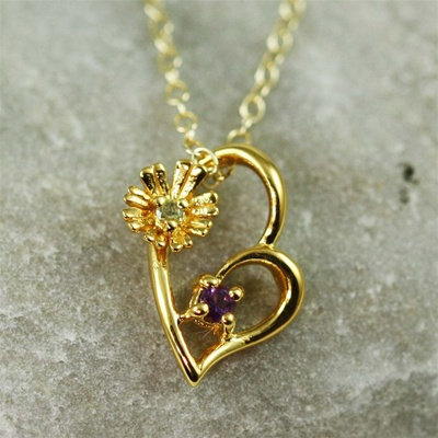 Gold Flower Heart Amethyst Necklace