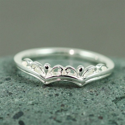 Silver Floral Crown Ring