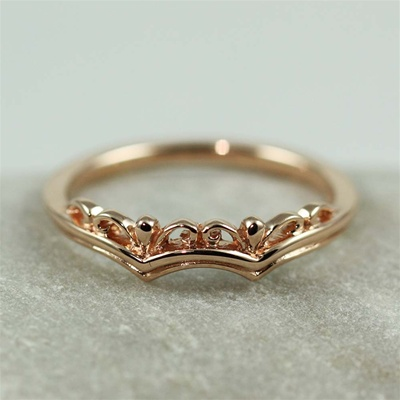 Pink Gold Floral Crown Ring