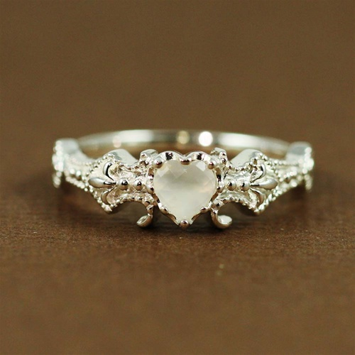 Silver Floral Moonstone Ring