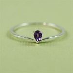 Silver Heart Amethyst Ring