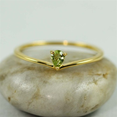 Gold Heart Peridot ring