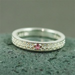 Silver Pink Tourmaline Band Ring