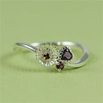 Silver Flower Heart Rhodolite Ring