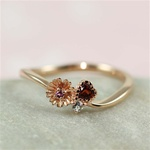 Pink Gold Flower Heart Rhodolite Ring