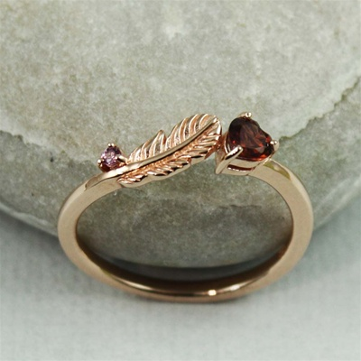 Pink Gold Feather Rhodolite Ring