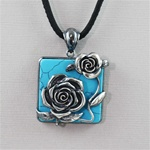 Handcrafted Turquoise Roses Necklace