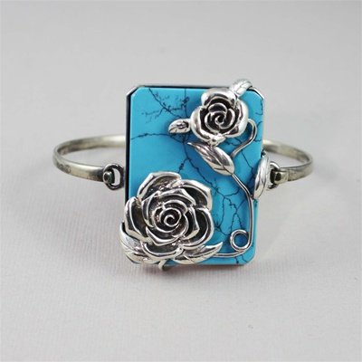 Handcrafted Turquoise Roses Bracelet