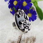 Handcrafted Agate Daisies Ring
