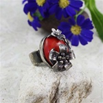 Handcrafted Coral Daisies Ring