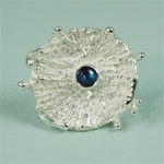 Handmade Burst of Blue Spectrolite Silver Ring
