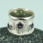 Handmade Three Amethyst Silver Ring