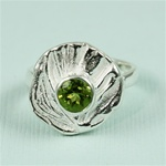 Handmade Simple Dish Peridot Silver Ring