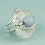 Handmade Chalcedony in the Shell Silver Ring