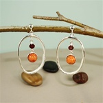 Handmade Dangling Circle Red Coral Silver Earrings