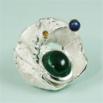 Handmade Malachite in the Shell Silver Ring