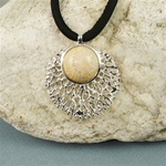 Handmade Fossil in Coral Silver Necklace