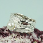 Handmade Simple Elegant White Pearl Silver Ring