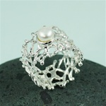 Handmade White Pearl on Wider Band Coral Silver Ring