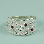 Handmade Tapered Red Sapphire Silver Ring