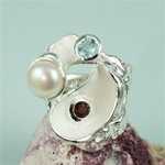 Handmade Pearl, Blue topaz, Garnet on Sculpted Coral Silver Ring