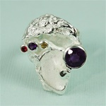 Handmade Amethyst on Sculpted Coral Silver Ring