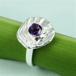 Handmade Simple Dish Amethyst Silver Ring