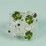 Handmade Triple Peridot on Coral Reef Silver Ring