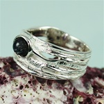 Handmade Simple Elegant Spectrolite Silver Ring
