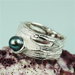 Handmade Simple Elegant Black Pearl Silver Ring