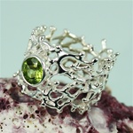 Handmade Peridot on Wider Band Coral Silver Ring