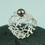 Handmade Black Pearl on Wider Band Coral Silver Ring