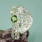 Handmade Peridot White Pearl on Natural Coral Silver Ring