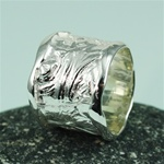 Handmade Wider Band Texture Silver Ring
