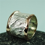 Handmade Wider Band Texture Rose Gold Edges Silver Ring