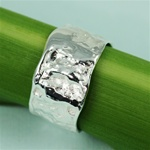 Handmade Simple Texture Band Silver Ring