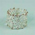 Handmade Wider Band Rose Gold Edges Coral Silver Ring