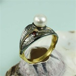 Handcrafted Wrap-Around Leaf Pearl Ring
