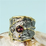 Handcrafted Pink Rhodolite Textured Ring