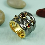 Handcrafted Multi Garnet Extra Wide Band Ring