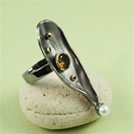 Handcrafted Pearl Gemstone Seashell Ring