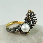 Handcrafted Pearl Crystal Coral Reef Ring