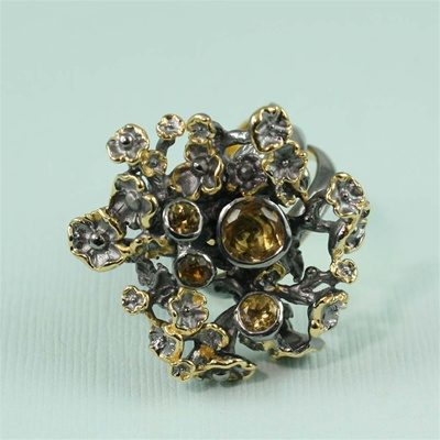 Handcrafted Multi Citrine Sea Flowers Ring