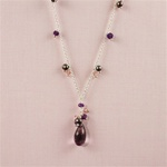Amethyst Drop Silver Necklace