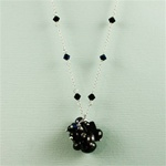 Onyx Cluster Silver Necklace